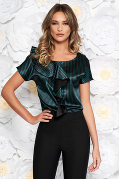 StarShinerS green elegant flared women`s blouse from satin fabric texture with ruffle details