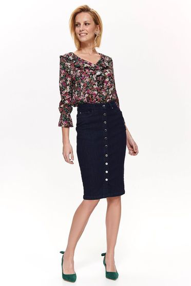 Top Secret darkblue high waisted pencil skirt cotton