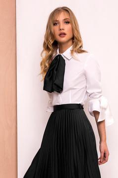 PrettyGirl black elegant women`s shirt with tented cut slightly elastic fabric with 3/4 sleeves