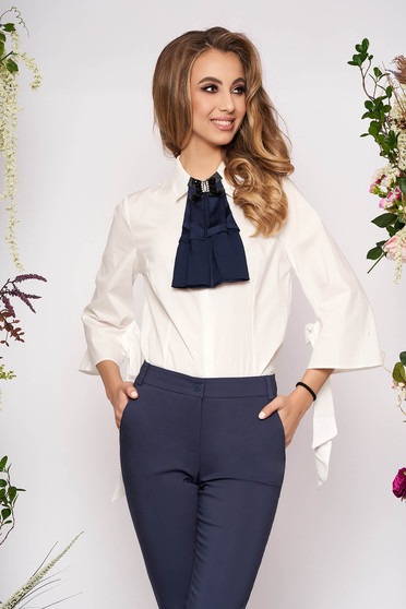 PrettyGirl darkblue elegant women`s shirt with tented cut slightly elastic fabric with 3/4 sleeves