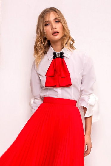 PrettyGirl red elegant women`s shirt with tented cut slightly elastic fabric with 3/4 sleeves