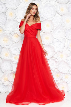 Ana Radu red luxurious cloche dress transparent fabric with inside lining accessorized with tied waistband