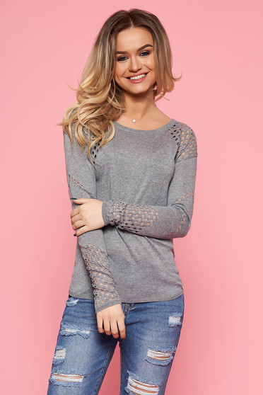 Top Secret grey casual sweater with tented cut knitted fabric long sleeved