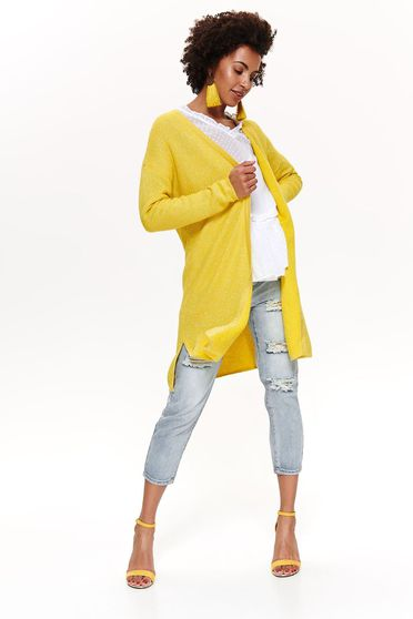 Top Secret yellow casual cardigan nonelastic cotton with easy cut long sleeved