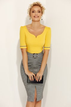 Fofy yellow office with tented cut women`s shirt elastic cotton with v-neckline