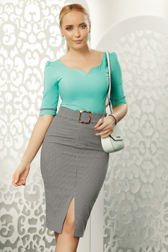 Fofy green office with tented cut women`s shirt elastic cotton with v-neckline