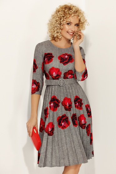 Fofy grey elegant folded up cloche dress with floral prints accessorized with tied waistband