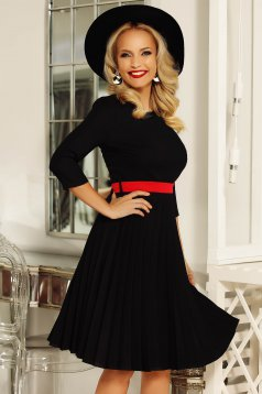 Fofy black elegant folded up cloche dress accessorized with tied waistband slightly elastic fabric