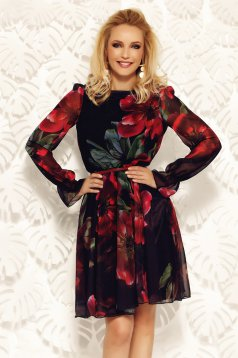 Fofy black elegant cloche dress voile fabric with inside lining with floral prints