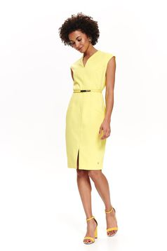 Top Secret yellow elegant midi pencil dress slightly elastic fabric accessorized with belt