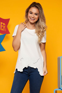 Top Secret white casual flared t-shirt cotton asymmetrical