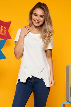 Top Secret white casual flared t-shirt cotton asymmetrical