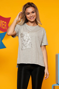 Top Secret lightgrey casual flared t-shirt slightly elastic cotton metallic details