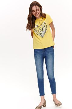 Top Secret yellow casual flared t-shirt slightly elastic cotton metallic details