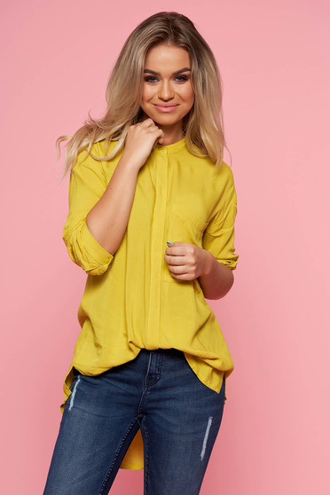 Top Secret yellow casual asymmetrical flared women`s shirt airy fabric long sleeved