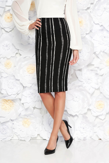 StarShinerS black office midi pencil skirt from elastic fabric high waisted with tented cut