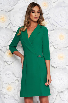Artista green blazer type a-line elegant dress slightly elastic fabric with inside lining