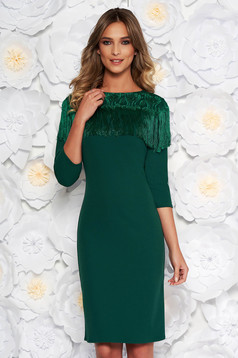 Green elegant midi pencil dress slightly elastic fabric fringes with lace details