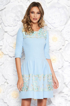 Lightblue elegant cloche dress slightly elastic fabric with inside lining with lace details