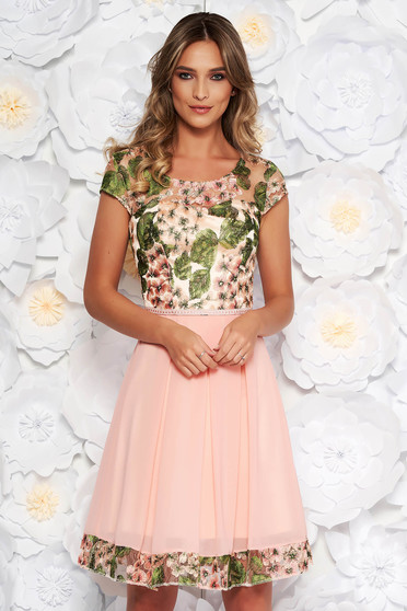 Peach occasional cloche dress from laced fabric embroidered voile fabric with inside lining