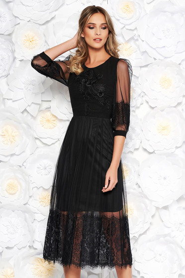 Black occasional midi cloche dress from tulle with embroidery details with lace details with small beads embellished details