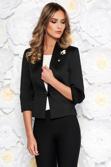 Black elegant jacket arched cut from satin fabric texture with inside lining accessorized with breastpin