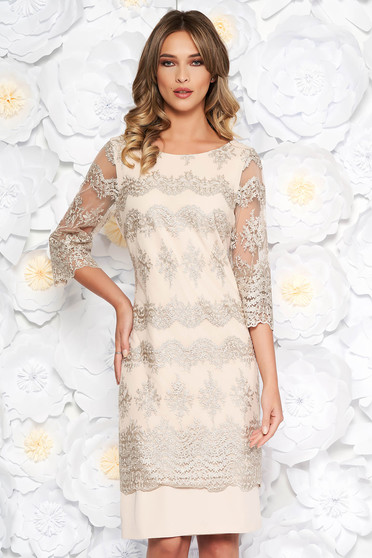 Cream occasional midi dress with straight cut from non elastic fabric laced 3/4 sleeve