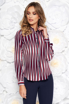 Burgundy casual flared women`s shirt airy fabric long sleeved