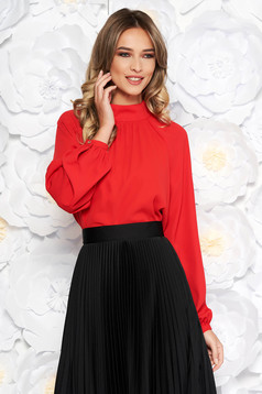 StarShinerS red elegant flared women`s blouse from veil fabric with inside lining long sleeved