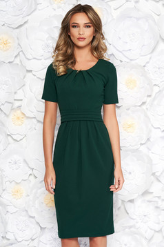 StarShinerS darkgreen office midi pencil dress slightly elastic fabric with inside lining short sleeves