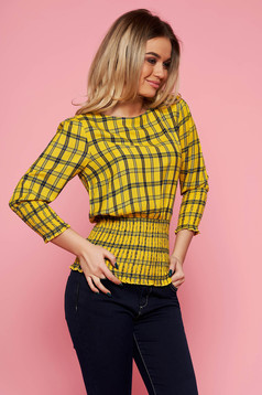 Top Secret yellow casual women`s blouse airy fabric with chequers with elastic waist