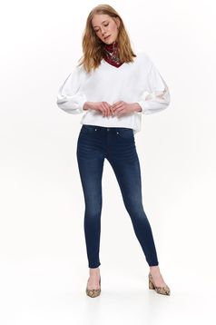 Top Secret darkblue casual skinny jeans jeans elastic cotton with pockets with medium waist