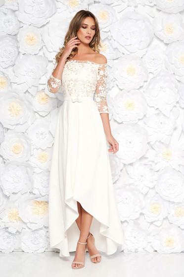 StarShinerS white dress occasional asymmetrical off shoulder cotton with embroidery details