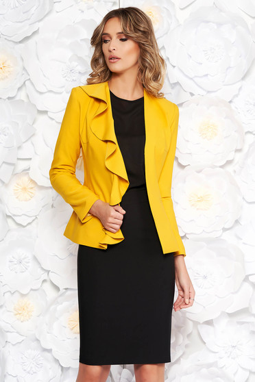 LaDonna yellow elegant lady set slightly elastic fabric with inside lining with ruffle details