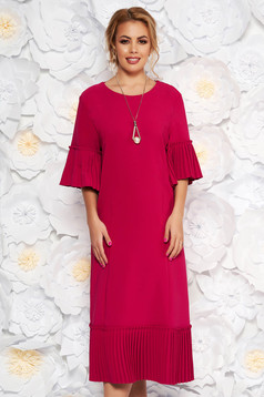 Fuchsia elegant midi straight dress slightly elastic fabric