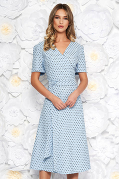 Lightblue elegant cloche dress slightly elastic fabric with dots print accessorized with tied waistband