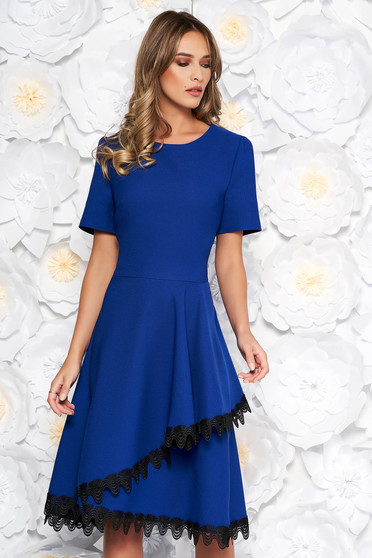 Blue elegant midi cloche dress flexible thin fabric/cloth with lace details with ruffle details