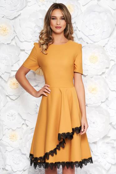 Mustard elegant midi cloche dress flexible thin fabric/cloth with lace details with ruffle details