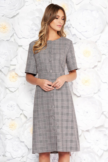 Grey midi daily a-line dress from non elastic fabric with chequers with pockets