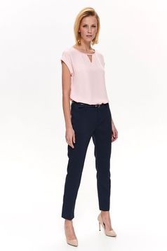 Top Secret darkblue office conical trousers soft fabric accessorized with belt with medium waist