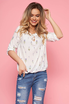 Top Secret white casual flared women`s blouse airy fabric with elastic waist