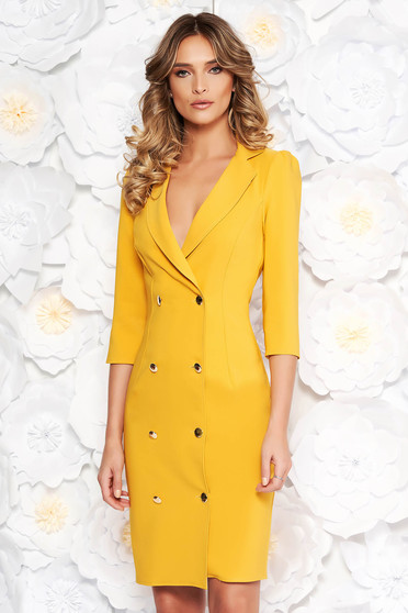 Artista mustard elegant blazer type dress slightly elastic fabric wrap around with button accessories