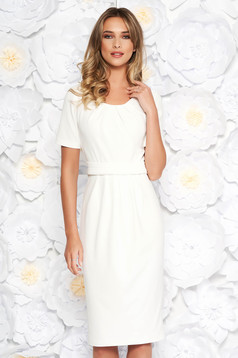 StarShinerS white office midi pencil dress slightly elastic fabric with inside lining short sleeves