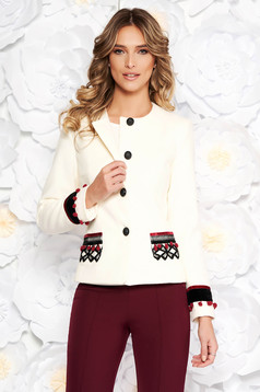 LaDonna white elegant wool jacket arched cut with inside lining handmade applications