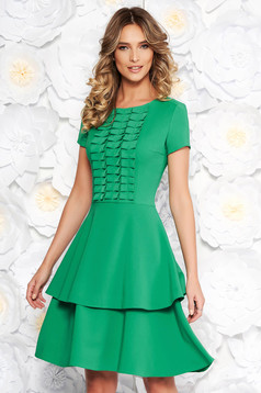 LaDonna green daily cloche dress slightly elastic fabric short sleeves with ruffle details