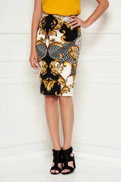 StarShinerS mustard office midi pencil skirt from elastic fabric high waisted with tented cut