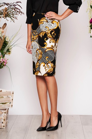 StarShinerS mustard office midi skirt from elastic fabric high waisted with tented cut