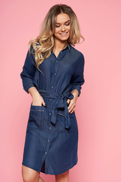 Top Secret blue casual flared dress denim accessorized with tied waistband