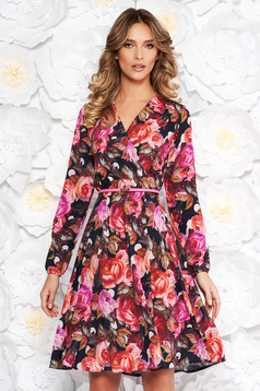 StarShinerS black daily cloche dress long sleeve with a cleavage with floral print