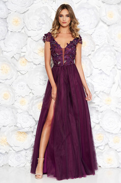 Artista purple occasional cloche dress from tulle laced with push-up cups with floral details with 3d effect